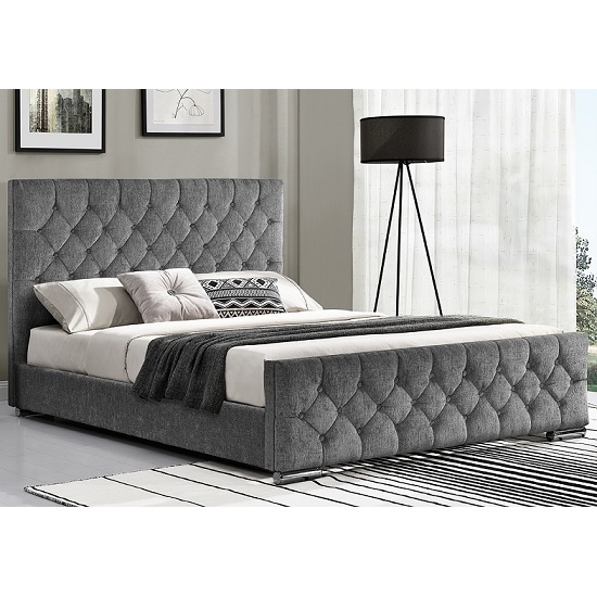 Ariana Fabric Double Bed In Silver With Chrome Legs