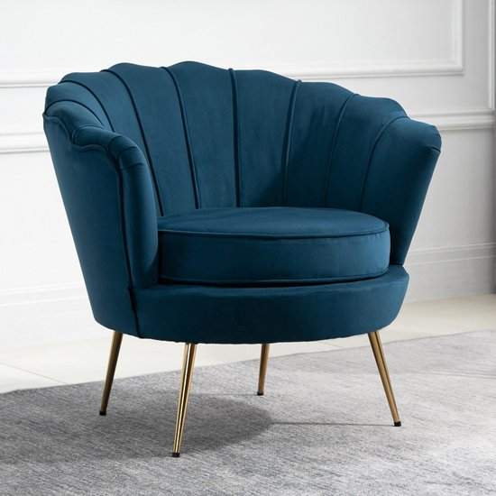 Ariel Fabric Upholstered Accent Chair In Blue_1