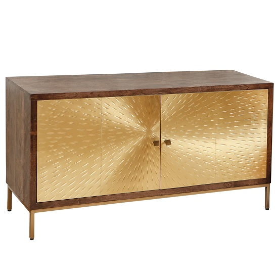 Arielle Sideboard In Dark Wood With 2 Gold Metal Doors