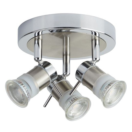 Aries LED IP44 3 Lights Spotlight In Chrome And Satin Silver