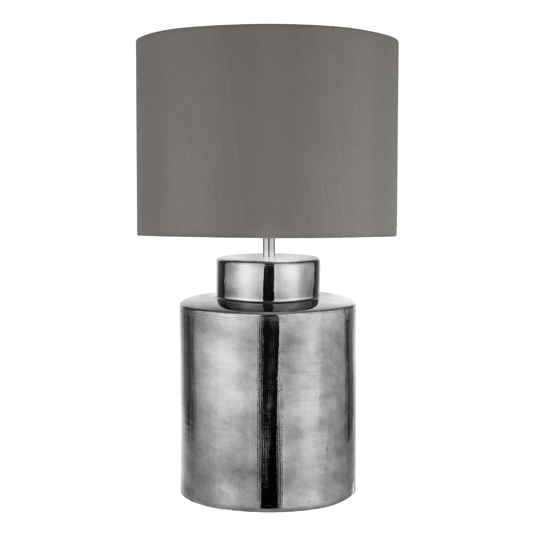 Aristan 1 Light Table Lamp In Chrome And Grey Shade