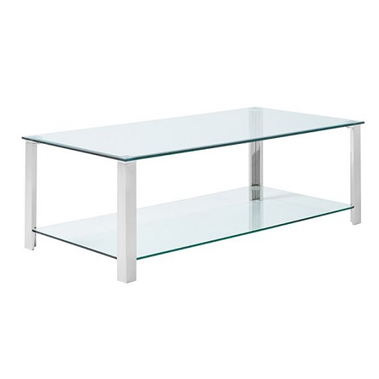 Aristote Glass Coffee Table Rectangular In Clear And Silver Legs