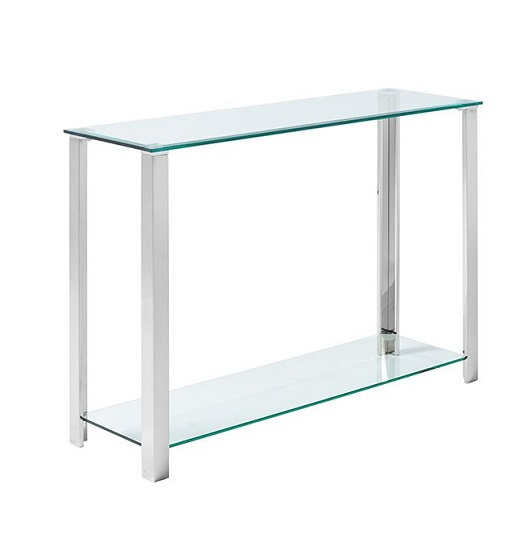 Aristote Glass Console Table In Clear With Silver Legs