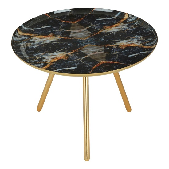 Aristote Faux Marble Side Table In Multicolor With Golden Frame_2