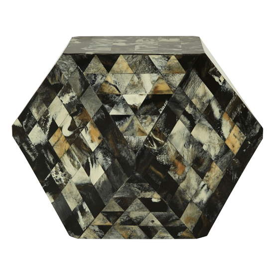 Aristote Wooden Geometric Stool In Antique Green