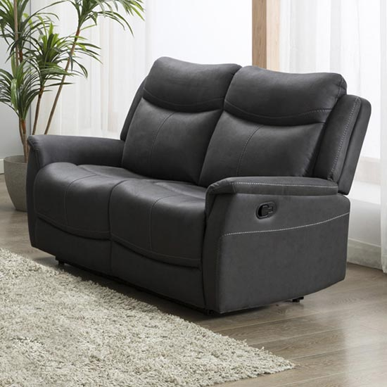 Arizones Fabric 2 Seater Electric Recliner Sofa In Slate