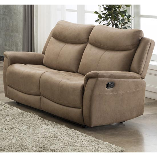 Arizones Fabric 2 Seater Manual Recliner Sofa In Caramel_1