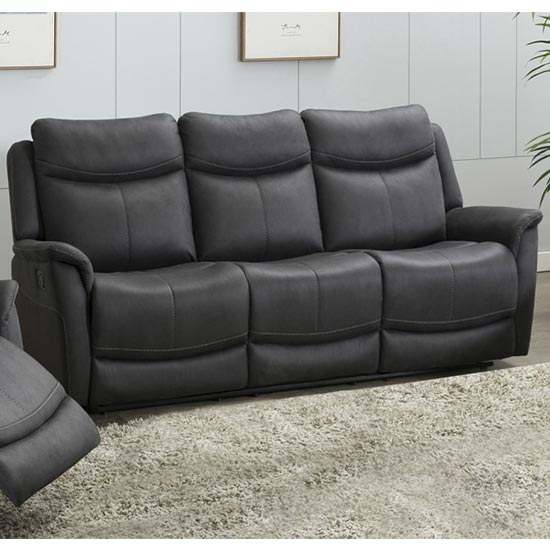 Arizona Fabric 3 Seater Electric Recliner Sofa In Slate