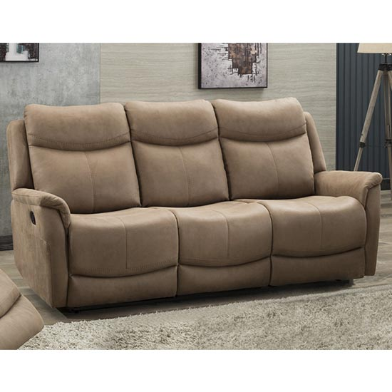 Arizona Fabric 3 Seater Fixed Sofa In Caramel