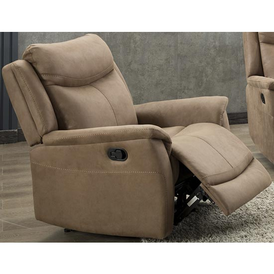 Arizona Fabric Electric Recliner Armchair In Caramel