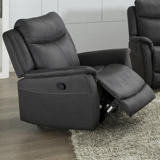Arizones Fabric Manual Recliner Armchair In Slate