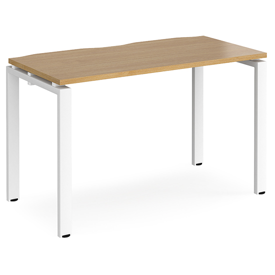 Arkos 1200mm Wooden Computer Desk In Oak With White Legs