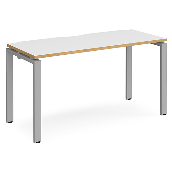 Arkos 1400mm Computer Desk In White And Oak With Silver Legs