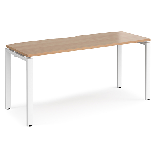 Arkos 1600mm Wooden Computer Desk In Beech With White Legs