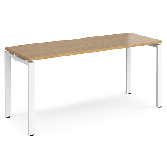 Arkos 1600mm Wooden Computer Desk In Oak With White Legs
