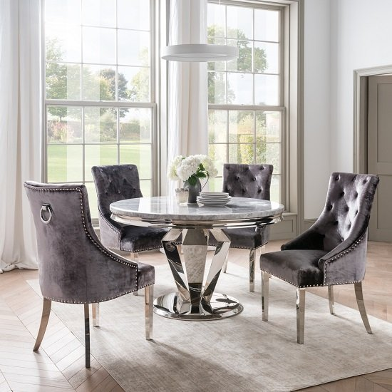 Arlesey Grey Marble Dining Table Round With 4 Charcoal Chairs