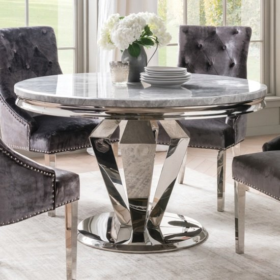 Arlesey Marble Dining Table Round In Grey And Steel Legs