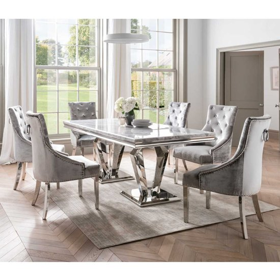 View Arlesey medium marble dining table with 6 enmore pewter chairs