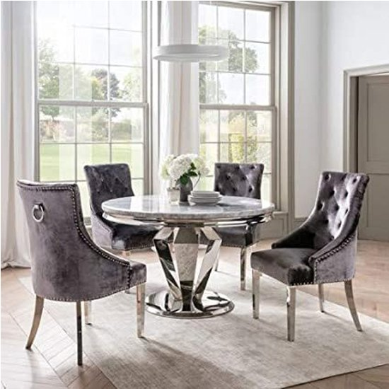 View Arlesey round marble dining table with 4 enmore pewter chairs