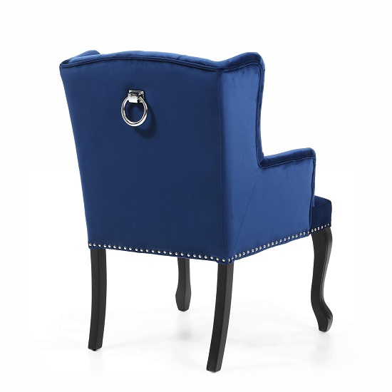 Arlington Accent Chair In Brushed Velvet Blue With Wooden Legs_2