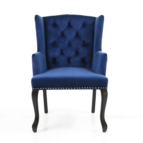 Arlington Accent Chair In Brushed Velvet Blue With Wooden Legs_4
