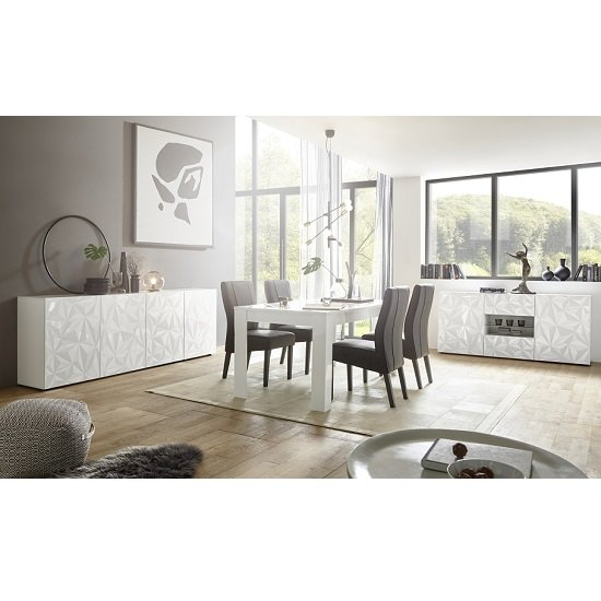 Arlon Modern Large Sideboard In White High Gloss With 4 Doors_3