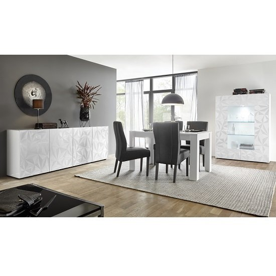 Arlon Modern Large Sideboard In White High Gloss With 4 Doors_4