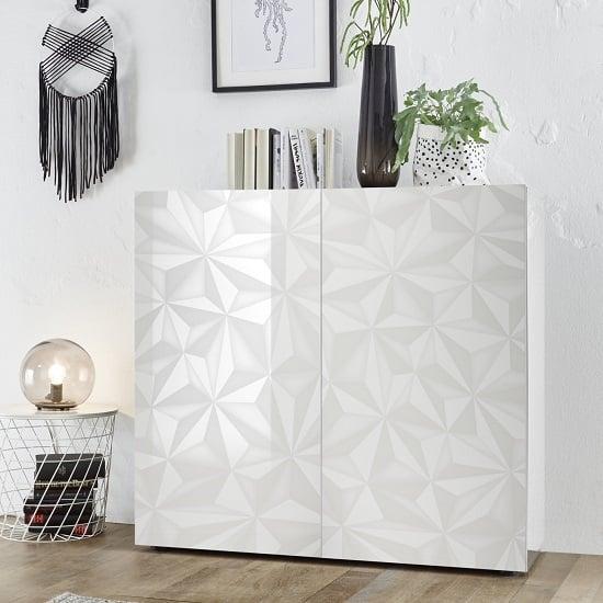View Arlon modern highboard in white high gloss with 2 doors