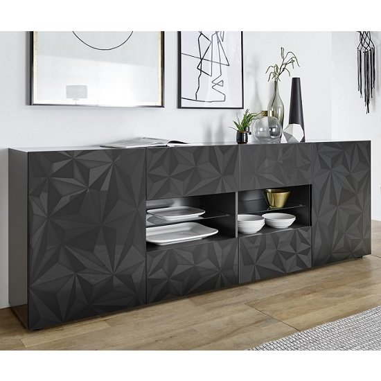 Arlon Large Sideboard In Grey High Gloss With 2 Doors