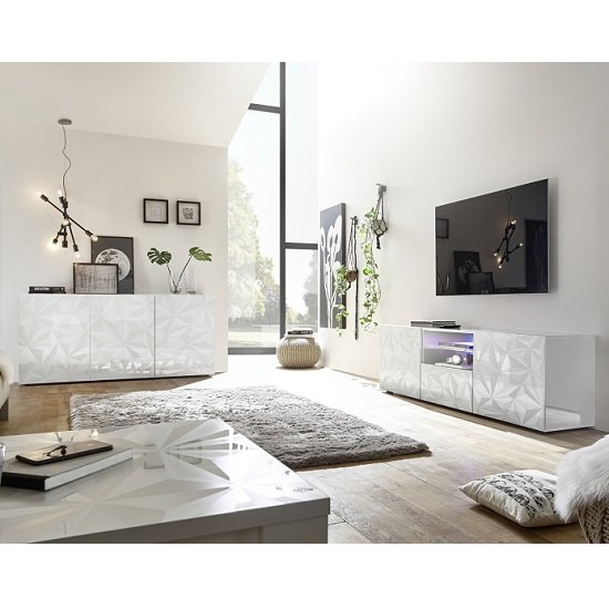 Arlon TV Stand Wide In White High Gloss With 2 Doors And LED_4