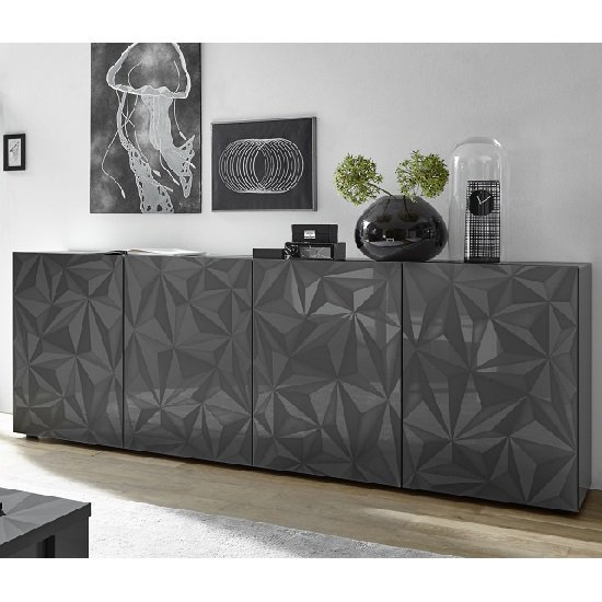 Arlon Modern Large Sideboard In Grey High Gloss With 4 Doors