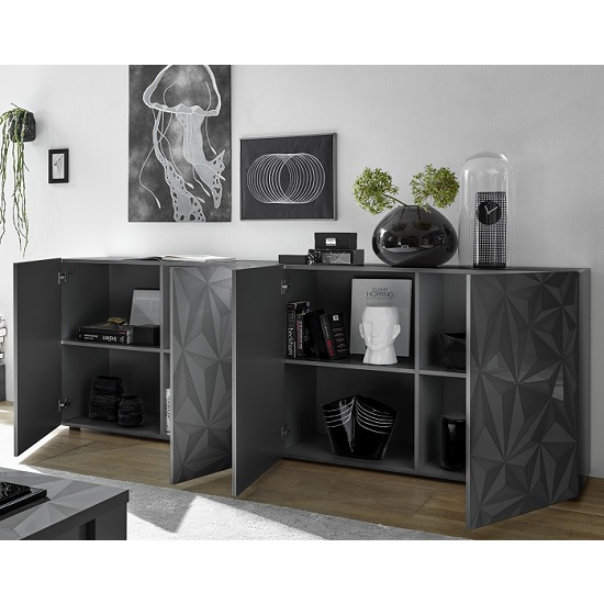 Arlon Modern Large Sideboard In Grey High Gloss With 4 Doors_2