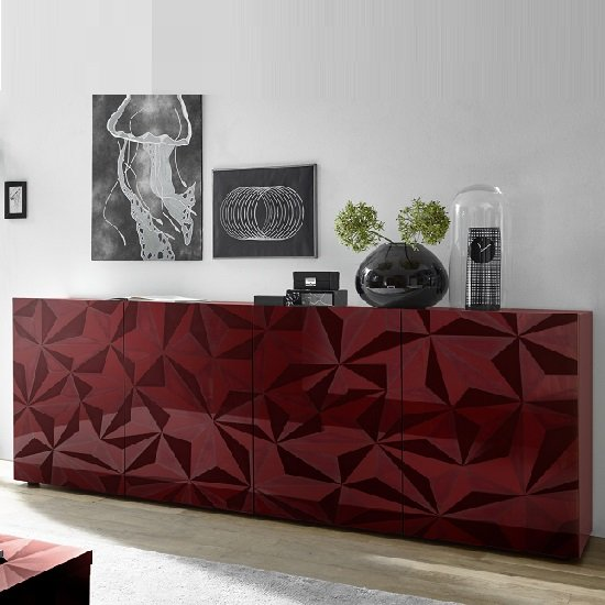 Arlon Modern Large Sideboard In Red High Gloss With 4 Doors