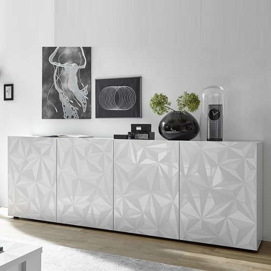 Arlon Modern Large Sideboard In White High Gloss With 4 Doors