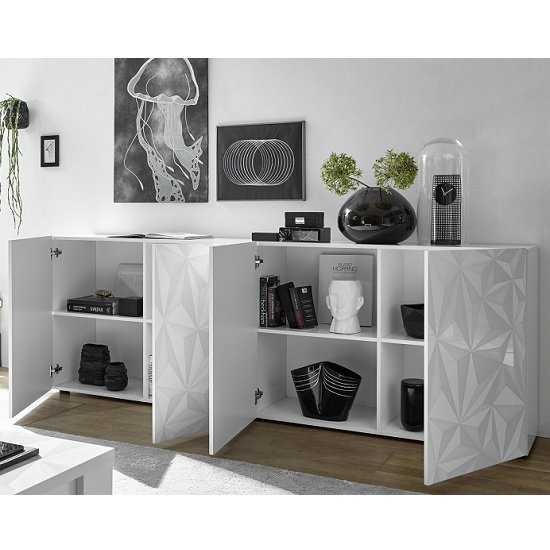 Arlon Modern Large Sideboard In White High Gloss With 4 Doors_2