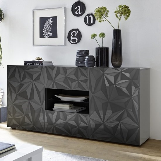 Arlon Sideboard In Grey High Gloss With 2 Doors With LED_1