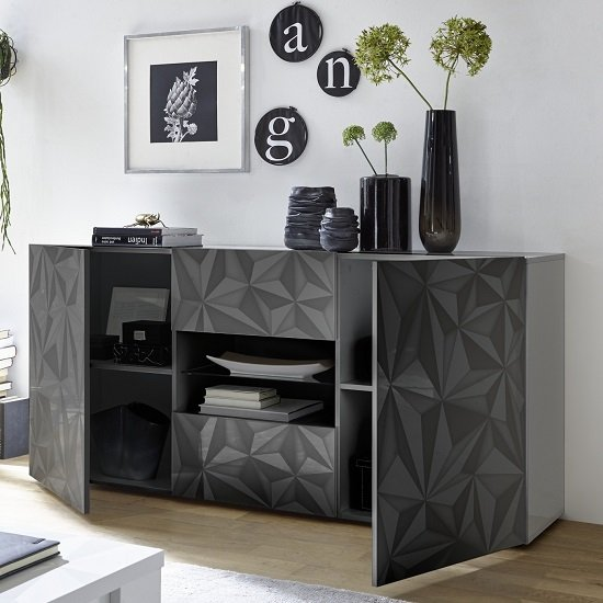 Arlon Sideboard In Grey High Gloss With 2 Doors With LED_2