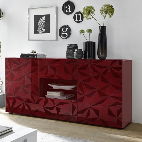 Arlon Sideboard In Red High Gloss With 2 Doors With LED