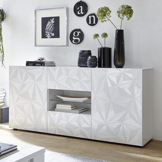 Arlon Sideboard In White High Gloss With 2 Doors