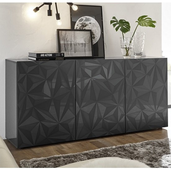 Arlon Modern Sideboard In Grey High Gloss With 3 Doors