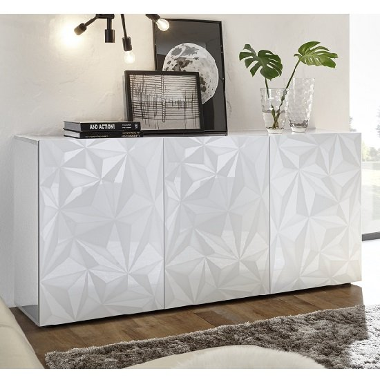 Arlon Modern Sideboard In White High Gloss With 3 Doors
