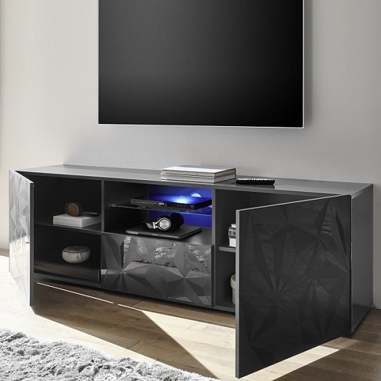 Arlon TV Stand Wide In Grey High Gloss With 2 Doors And LED_2