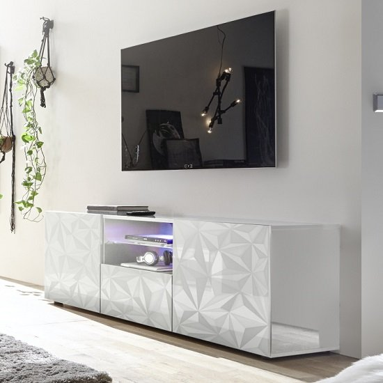 Arlon TV Stand Wide In White High Gloss With 2 Doors And LED_1