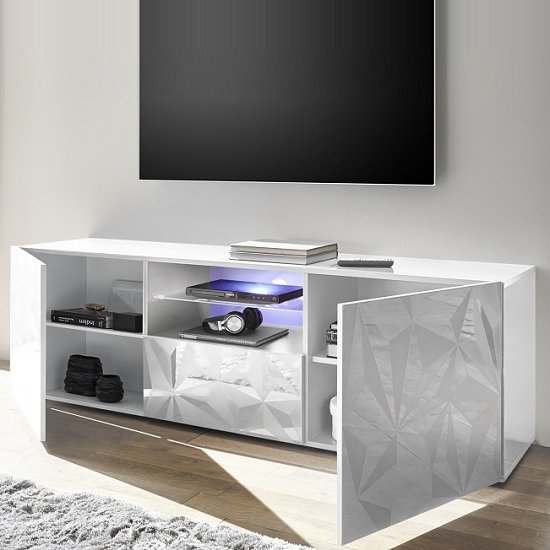 Arlon TV Stand Wide In White High Gloss With 2 Doors And LED_2