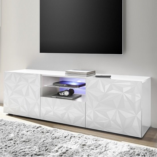 Arlon TV Stand Wide In White High Gloss With 2 Doors And LED_3