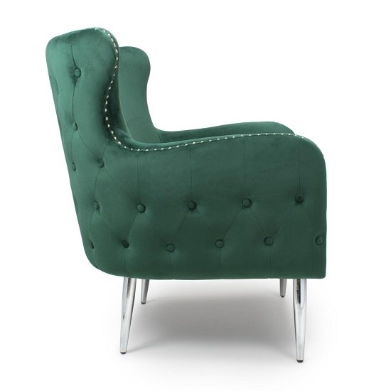 Armada Armchair In Brushed Velvet Green With Chrome Legs_3