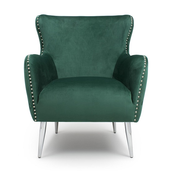 Armada Armchair In Brushed Velvet Green With Chrome Legs_4