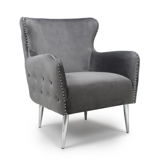 Armada Armchair In Brushed Velvet Grey With Chrome Legs