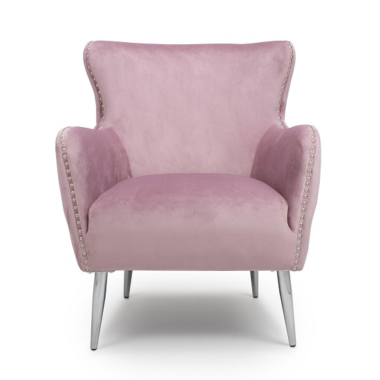 Armada Armchair In Brushed Velvet Pink Blush With Chrome Legs_4