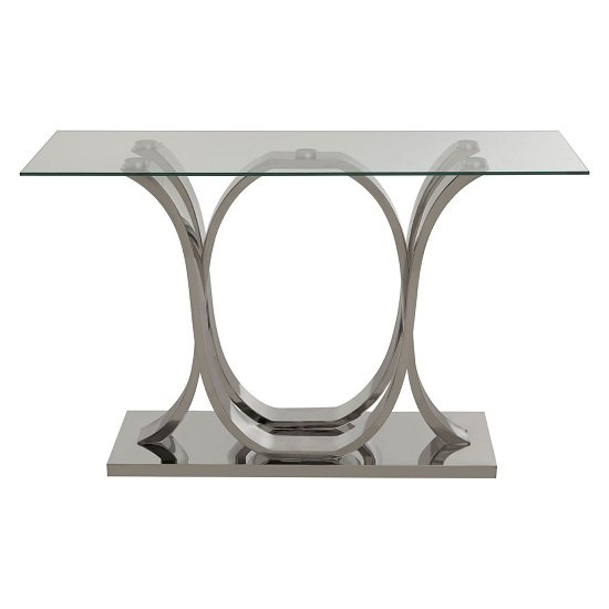 Armanda Glass Console Table With Curved Stainless Steel Base